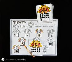 This 20 frames math game is such a fun math center for kindergarten. Practice counting and recognizing teen numbers with a turkey theme! Printable Math Games, Printable Turkey, Free Printable, Ten Frame Activities, Math Activities, Kindergarten Math Games, Fun Math, Math Stations, Math Centers