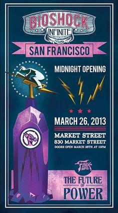 BioShock Infinite Midnight Launch Posters by Zoe Brookes, via Behance