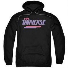"""Are you a fan of Mr. Universe's rocking music? With this Steven Universe Mr. Universe Adult Black Hoodie, you can support Mr. Universe and match Rose Quartz! This hoodie features the purple and pink """"Mr. Universe"""" logo on a black background."""
