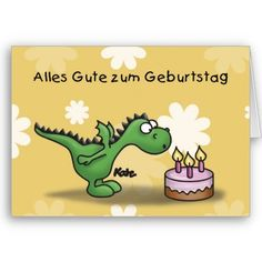 $3.35 Cute German birthday card with a dinosaur blowing out candles on a cake.