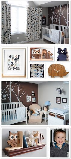 wall decals behind the crib, leaf patterns throughout the room...