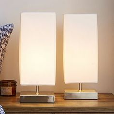 Designed with a square shaped chrome base and grey satin lamp shade, this set of two table lamps features a three-stage touch on and off mechanism and will complement a wide range of interiors. Cream Table Lamps, Bedside Table Lamps, Touch Lamp, Desk Light, Bedroom Lighting, House Rooms, Soft Furnishings, Chrome, Bulb
