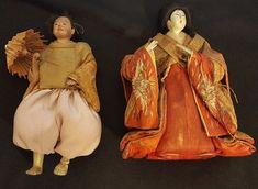 antique Japanese Taisho period Hina dolls, man and woman in glass/brass case