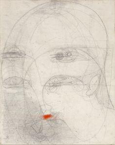 Marisa Merz (Italian, born 1926) Graphite and lipstick on canvas. At the Met Breuer. Photo by Renato Ghiazza