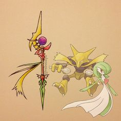 Pokeapon Fusion - Alakazam & Gardevoir. Request by @carlos_a03.