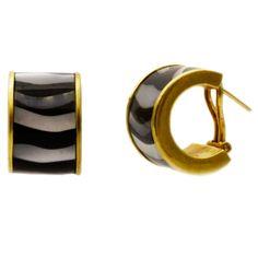 1stdibs | Tiffany & Co. Mother-of-Pearl & Onyx Half-Hoop Gold Earrings
