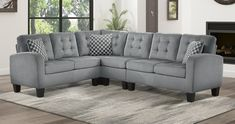 """Homelegance 8202GRY 2 pc sinclair gray fabric reversible sectional sofa set. Sectional measures 84"""" x 107"""" x 35"""" H. Some assembly required."""