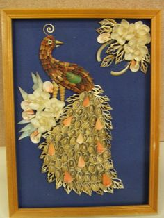 Vintage seashell bird shadow box.