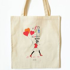 "Raw cotton printed tote bag ""Love is always the answer"" on Etsy, $19.77 CAD"