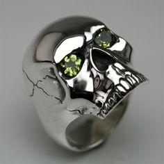 Skull Ring Silver & Brilliant Cut Peridots. Birth stone!