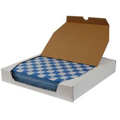 12 inch x 12 inch Blue Check Deli Sandwich Wrap Paper 1000 / Box