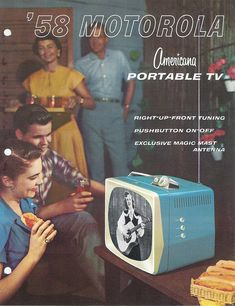 Turqouise portable TV sets were the new thing to have in 1958; Motorola ad