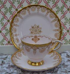 Tuscan Tea Trio Tea Cup Saucer Tea Plate by ImagineHowCharming - tassen - Antique Tea Cups, My Cup Of Tea, Tea Accessories, Tea Cup Saucer, Vintage Tea, Bone China, Tea Time, Tea Party, Tea Sets