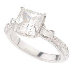 Tacori Epiphany Platinum Plated Sterling Diamonique Princess Cut Ring 8 488T #Epiphany #Engagement