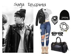 """""""Suga Airport Fashion Inspired Outfit"""" by lily-jangmi ❤ liked on Polyvore featuring Yves Saint Laurent, Balmain, Urban Renewal, Chanel, Feather & Stone, Retrò, korean, bts and Suga"""