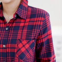 Korea womens shopping mall [styleberry] Chic Check Soft Raising Shirt / Size : FREE / Price : 36.17 USD #korea #fashion #style #fashionshop #styleberry #lovely #top #tops #dailylook #shirt #dailyfashion #check #red #navy #cute