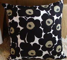 "Handmade 14"", 35cm pillow cushion case Marimekko black unikko Finland"