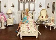 OOAK Barbie Ken Doll 1/6 Scale House Diorama Bedroom Furniture Bed Vanity More