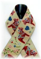 Jacquard Ribbon - Dala Horse. -->Just bought a yard for Roo's first collar! =)