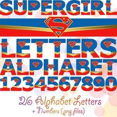 Supergirl Alphabet Digital Letters & Numbers Super Girl Party Decorations Letters Superman Superhero Printables Font Justice League Decor