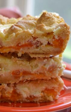 These Apricot Cream Cheese Crumble Bars are to die for. You will find it impossible not to devour all of them at one sitting. I love fresh apricots and this is exactly what this recipe calls for. Fresh flavorful apricots with all the goodness of summer 13 Desserts, Cookie Desserts, Cookie Recipes, Delicious Desserts, Fruit Recipes, Sweet Recipes, Dessert Recipes, Bar Recipes, Cheesecake Recipes