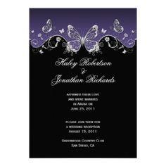black and purple wedding invitations | Purple Wedding Invitations - Purple Black Silver Butterflies Post ...