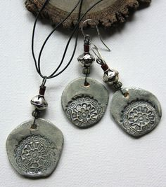 Handmade Porcelain Glazed Ceramic Necklace Set by ArtwearElements