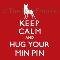 Items similar to Keep Calm & Hug Your Min Pin Pillow by The Dog Empire on Etsy Mini Pinscher, Miniature Pinscher, I Love Dogs, Puppy Love, Cute Dogs, Min Pin Dogs, Min Pin Puppies, Hug You, Service Dogs