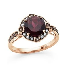 10K GOLD HALO RHODOLITE CHAMPAGNE WHITE DIAMOND WEDDING ENGAGEMENT RING SZ 7 #EXCEPTIONALBUY #SolitairewithAccents