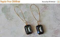 SALE 20% OFF Black Diamond Rhinestone Earrings  by ArtistInJewelry