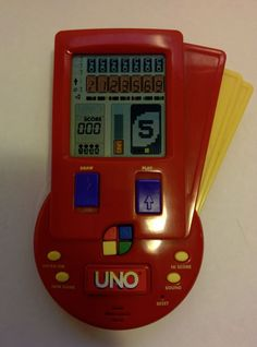 Uno Electronic Hand Held LCD Travel Card Game 1999 Mattel Tested and Working #Mattel