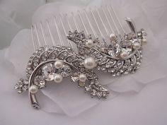 pearl wedding hair comb,crystal bridal hair comb,wedding comb,bridal hair piece,bridal comb,wedding hair accessories,bridal accessories,comb on Etsy, $52.00