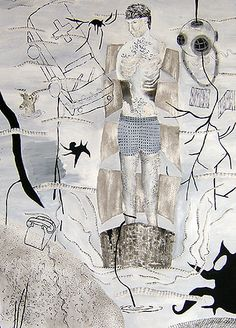 "Folk Hero / Acrylic, ink, and collage on paper / 19.75 x 24"" / 2006"