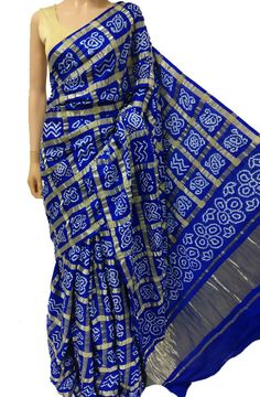 Blue Gajji Silk Bandhani Saree Fancy Blouse Designs, Saree Blouse Designs, Indian Dresses, Indian Outfits, Bandhini Saree, South Indian Wedding Saree, Saree Floral, Elegant Saree, Fancy Sarees