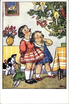 MKF Old Time Christmas, Vintage Christmas, Christmas Tree, Christmas Cards, Holiday Tree, Religious Art, Jingle Bells, Naive, Vintage Postcards