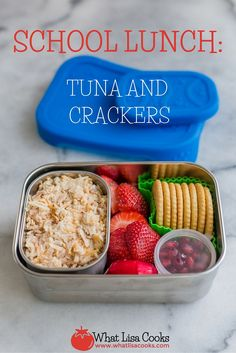 This is a simple and quick packed school lunch for just one today - in a  brand new stainless steel lunch box that I am super excited about.   Is it silly that I get so excited about something like a new lunch  container? Well, when you pack four lunches every single day of the school  year, having containers you love is a big deal.  I have some pretty strict criteria for what makes a lunch container worth  buying, so when I came across these I thought it almost seemed too good to  be true…