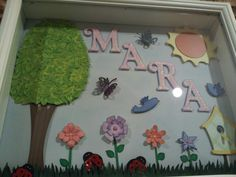 Girl's personalized name frame shadow box garden / outdoor spring theme