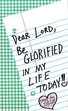 Be glorified...