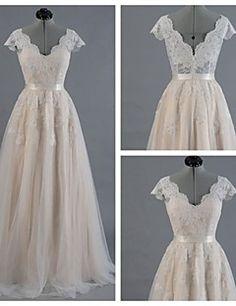A-line Wedding Dress - Champagne Floor-length V-neck Satin /... – AUD $ 185.89