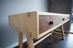 Contemporary desk of maple and walnut by RossittoWoodworks on Etsy