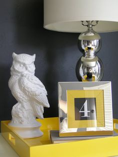 DIY Spray painted owl from Goodwil turned into replica from Z Gallerie. - 4 Men 1 Lady