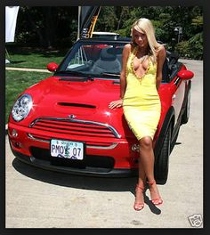 Nothing wrong with this picture! Model and a mini..cooper