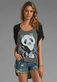 Lauren Moshi Betsy 2 Color Luv Panda Sweater in Heather/Black