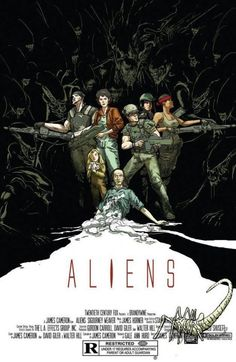 Stunning #Aliens (1986) custom movie poster by Riley Rossmo