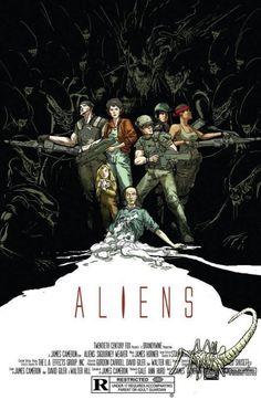 Stunning #Aliens (1986) custom movie poster by Riley Rossmo