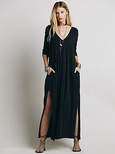 Sophie Dress | Soft knit maxi dress with three quarter length sleeves.  Plunging V-neckline with pleat detailing.