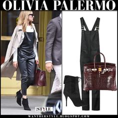 Olivia Palermo in black leather overalls, beige trench coat and black suede ankle boots