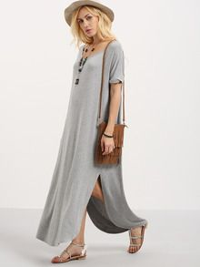 Grey Short Sleeve Pocket Split Side Dress -SheIn(Sheinside)