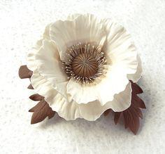 Polymer clay barrette white brown  beige poppy por SilverSeagullArt, $58.00