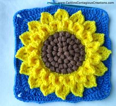 Crocodile Stitch Sunflower Square Crochet Pattern Tutorial with Pictures. This fun and easy tutorial will help you create a crochet square you can use. Crochet Mandala Pattern, Crochet Headband Pattern, Crochet Flower Tutorial, Crochet Flower Patterns, Doily Patterns, Afghan Crochet Patterns, Crochet Squares, Crochet Yarn, Easy Crochet